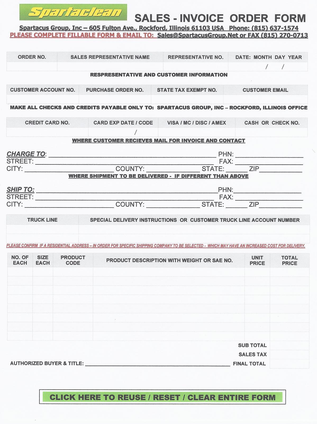 sales order forms